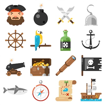 Iconos de piratas en blanco