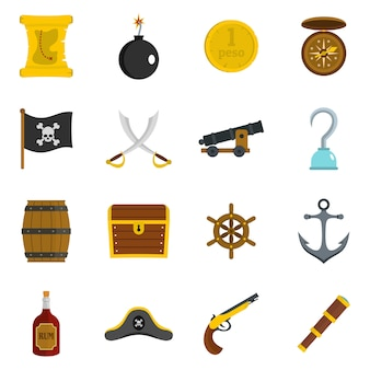 Iconos piratas establecidos en estilo plano