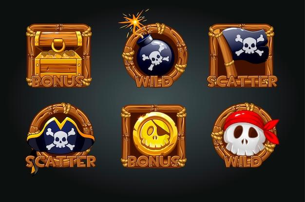 Iconos piratas en marcos de madera para ranuras. iconos símbolos piratas, bono del tesoro, calavera, bandera, moneda, calavera.