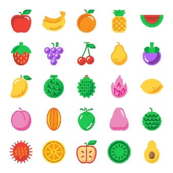 Iconos de pixel art de fruta