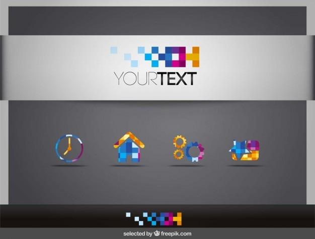 Iconos pixeled coloridas