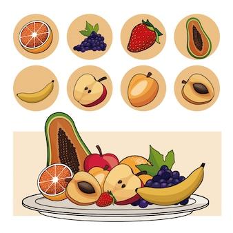 Iconos de placa de ensalada de nutrición de frutas