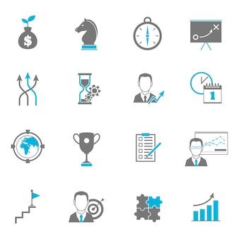 Iconos de planificación de estrategia empresarial