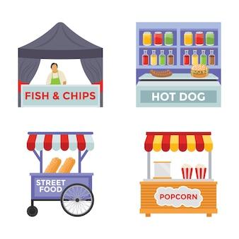 Iconos planos de alimentos del vendedor
