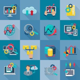 Iconos planos de análisis de datos grandes establecidos con procesamiento de información de trabajo en equipo internacional
