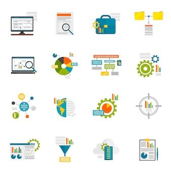 Iconos planos de análisis de datos