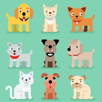 Iconos planos del animal doméstico del cachorro y del gatito.