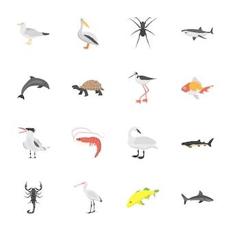 Iconos planos de animales de vida submarina