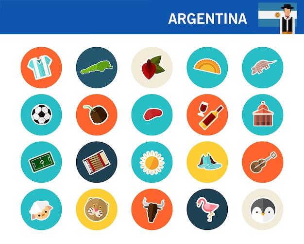 Iconos planos de argentina concepto