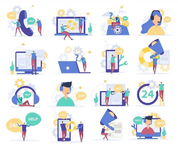 Iconos planos de atención al cliente