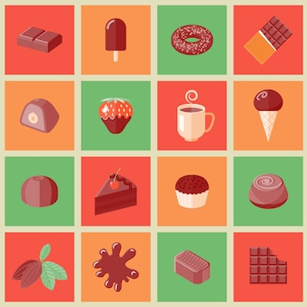 Los iconos planos de las barras del cacao de las virutas del postre del chocolate fijaron el ejemplo aislado del vector