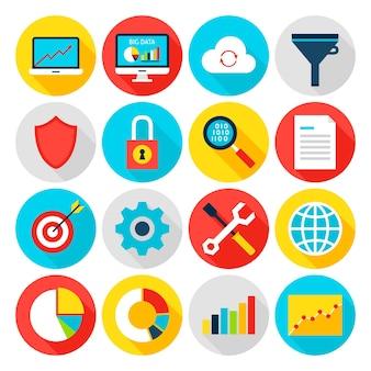Iconos planos de big data analytics. ilustración de vector. estadísticas de negocios. conjunto de elementos de círculo con sombra larga.