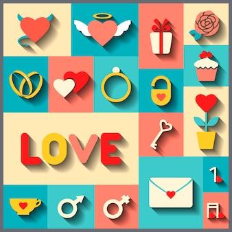 Iconos planos para boda o el día de san valentín.