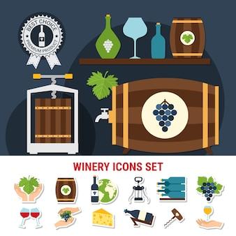 Iconos planos con botellas de vino, vasos, otros utensilios, uvas y queso aislado