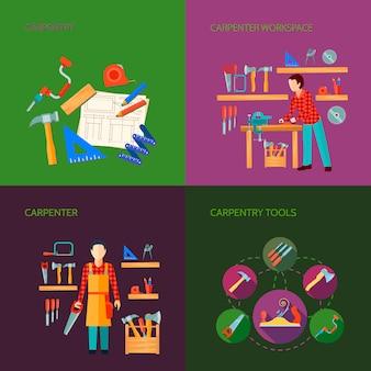 Los iconos planos de la carpintería trabaja el diseño de la composición con las herramientas carpintería carpintería productos aislados vec