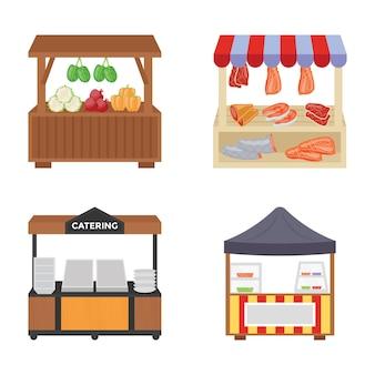 Iconos planos de carros de comida