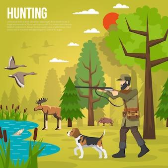 Iconos planos con cazador apuntando a los patos