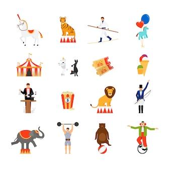Iconos planos de circo