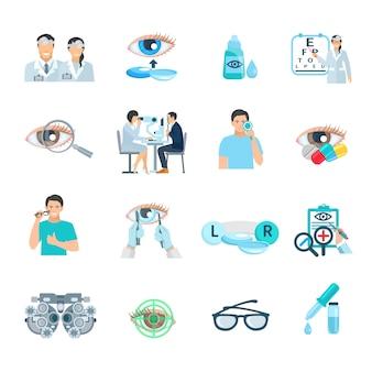 Los iconos planos de la clínica de la corrección de la visión del oftalmólogo fijaron con el vector aislado abstracto del símbolo del ojo il
