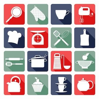 Iconos planos de cocina