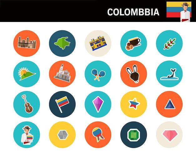 Iconos planos de colombia concepto