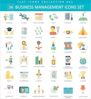 Iconos planos de color de gestión de negocios