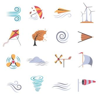 Iconos planos de colores de viento