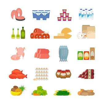 Iconos planos de comida de supermercado