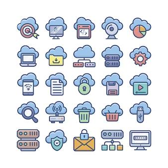 Iconos planos de computación en la nube, almacenamiento en la nube y bases de datos