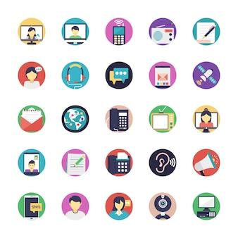 Iconos planos de comunicación
