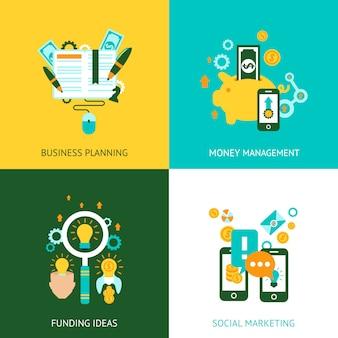 Iconos planos del concepto de análisis de negocios