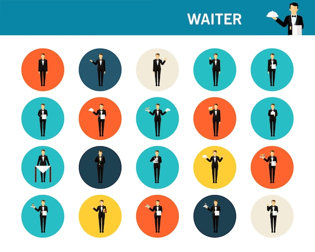 Iconos planos de concepto de camarero.