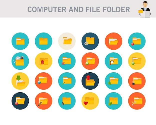 Iconos planos del concepto de carpeta de computadora y archivo.