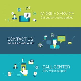 Los iconos planos del concepto de centro de llamadas de contacto de servicio de soporte móvil establecen ilustraciones