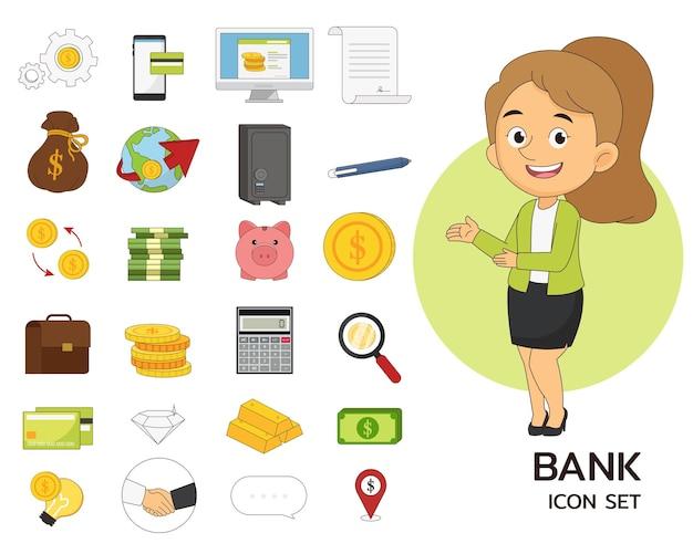 Iconos planos de concepto de conjunto de banco