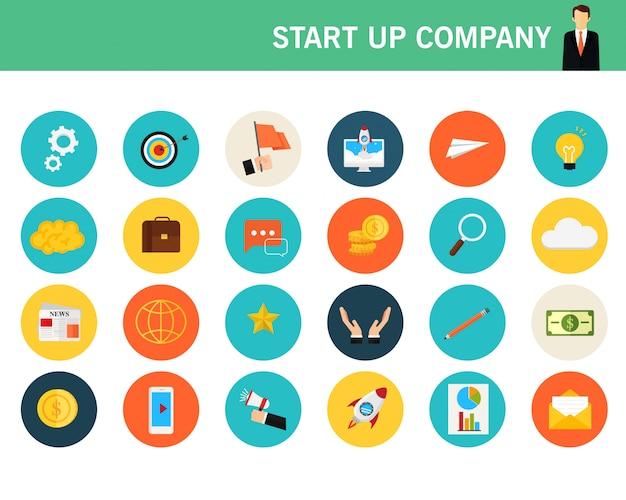 Iconos planos de concepto de empresa de inicio