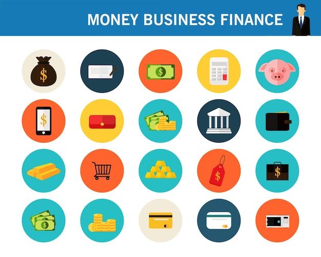 Iconos planos de concepto de finanzas de dinero empresarial.
