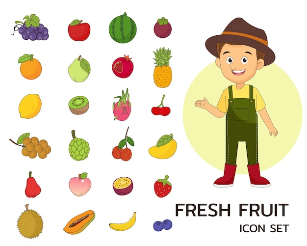 Iconos planos de concepto de fruta fresca
