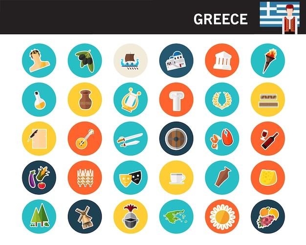 Iconos planos del concepto de grecia