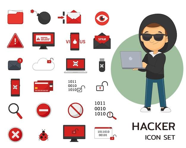Iconos planos del concepto de hacker