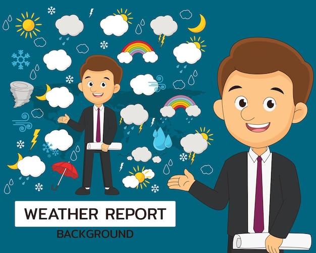 Iconos planos del concepto de informe meteorológico
