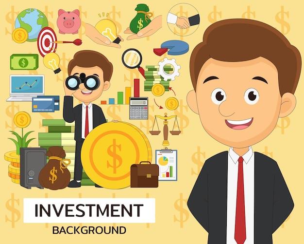 Iconos planos de concepto de inversión