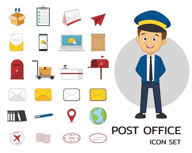 Iconos planos del concepto de oficina de correos