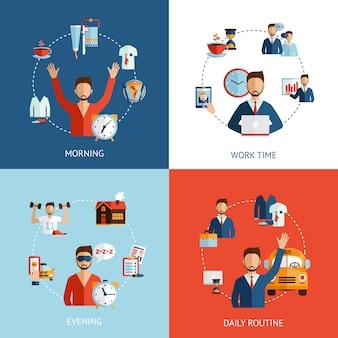 Iconos planos de concepto de rutina diaria de empresario