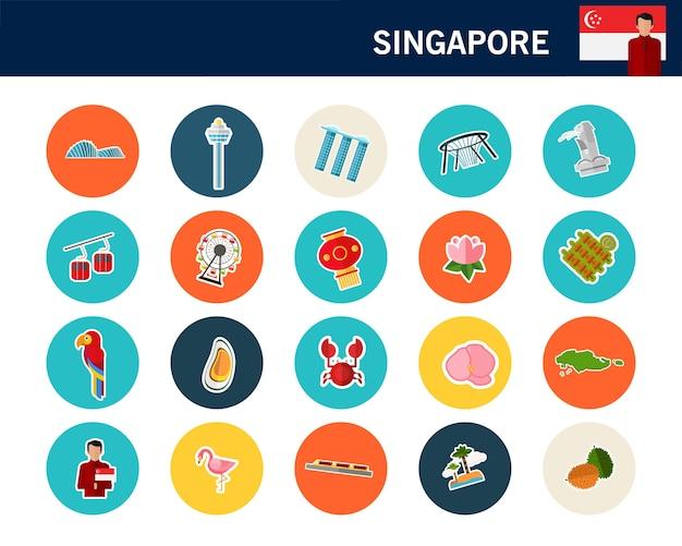 Iconos planos del concepto de singapur