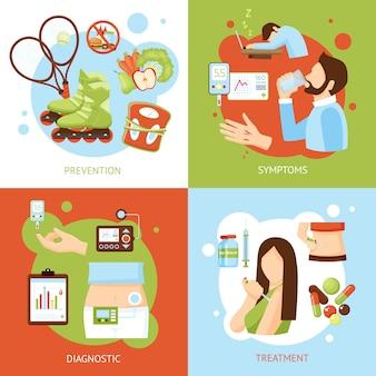 Iconos planos del concepto de los síntomas de la diabetes