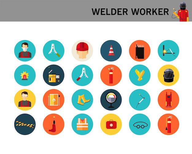 Iconos planos de concepto de trabajador de soldador.