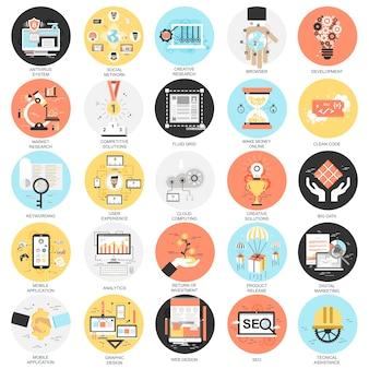 Iconos planos conceptuales conjunto de herramientas de optimización de motores de búsqueda para el tráfico de crecimiento.