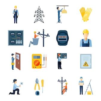 Iconos planos conjunto de reparadores electricistas figuras manitas y equipos eléctricos