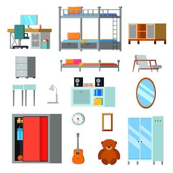 Iconos planos de constructor de sala adolescente con escritorio de muebles con monitor y accesorios personales aislados